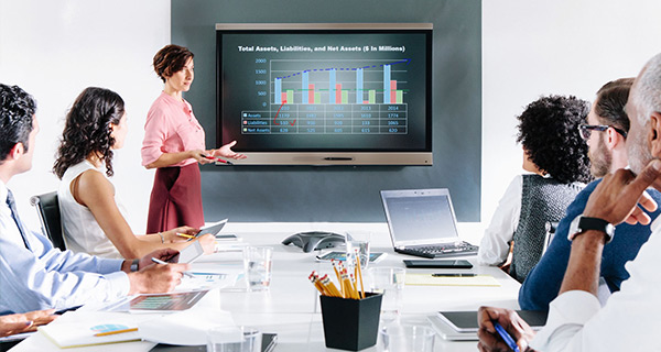 Smartboard technology in meeting rooms encouraging collaboration